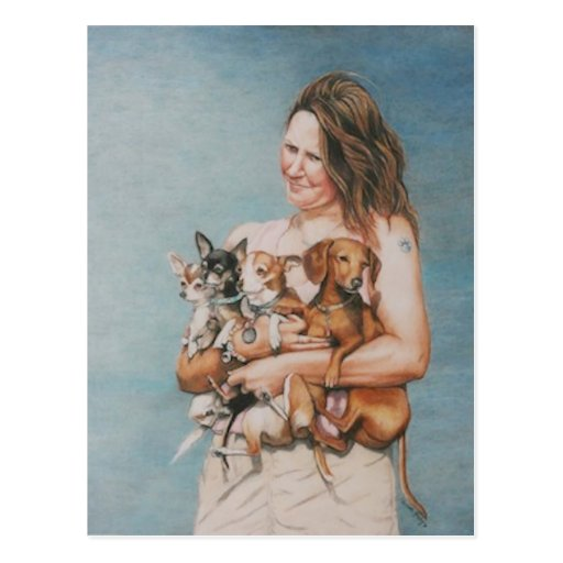 Four Rescues Dog Art Postcard