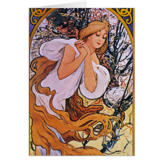 Four Seasons Alfons Mucha Card