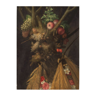Four Seasons in One Head by Giuseppe Arcimboldo Wood Print