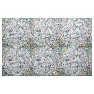 Four Seasons Rabbit Hare Medallion Tiled Fabric
