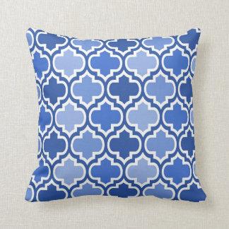 Four Shades Quatrefoil Pattern Cushion Blue