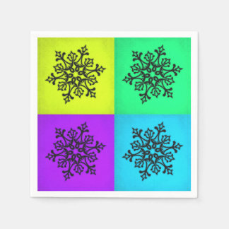 Four Snowflakes Winter Paper Napkin