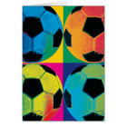 Four Soccer Balls in Different Colours Card