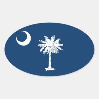 FOUR South Carolina Flag Oval Sticker
