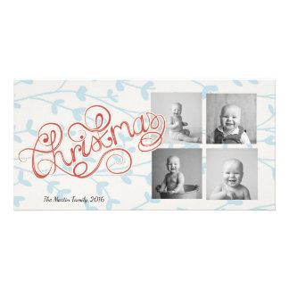 Four Square Photos Whimsical Christmas Personalized Photo Card