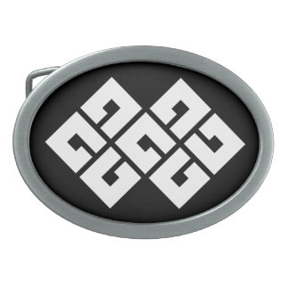 Four squares joining two oval belt buckle