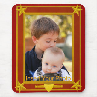 Four-Star Gold and Maroon Frame - Insert Photo! Mouse Pad