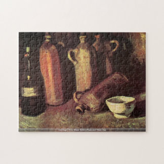 Four Stone Bottles Flask and White Cup by van Gogh Jigsaw Puzzle