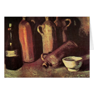 Four Stone Bottles, Flask and White Cup - van Gogh Card