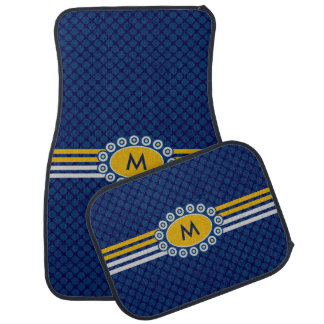 Four Stripes Monogram Blue and Gold ID207 Car Floor Carpet