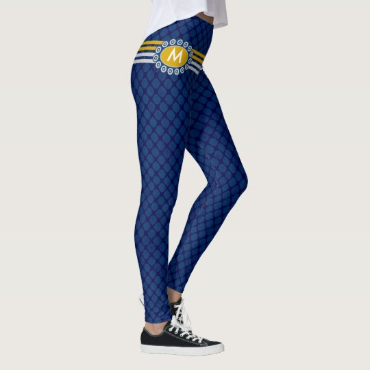 Four Stripes Monogram Blue and Gold ID207 Leggings
