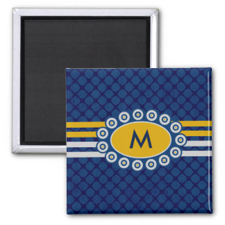 Four Stripes Monogram Blue and Gold ID207 Square Magnet