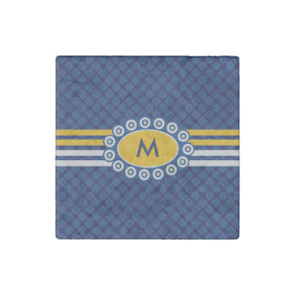 Four Stripes Monogram Blue and Gold ID207 Stone Magnets
