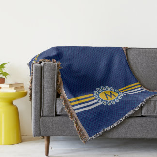 Four Stripes Monogram Blue and Gold ID207 Throw Blanket
