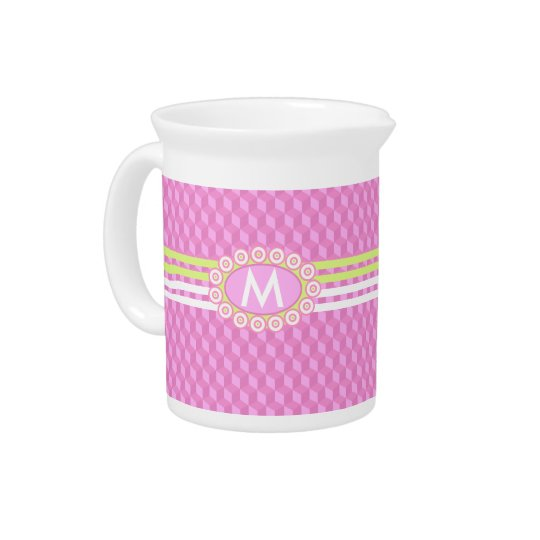 Four Stripes Monogram Pink and Lime ID207 Pitcher