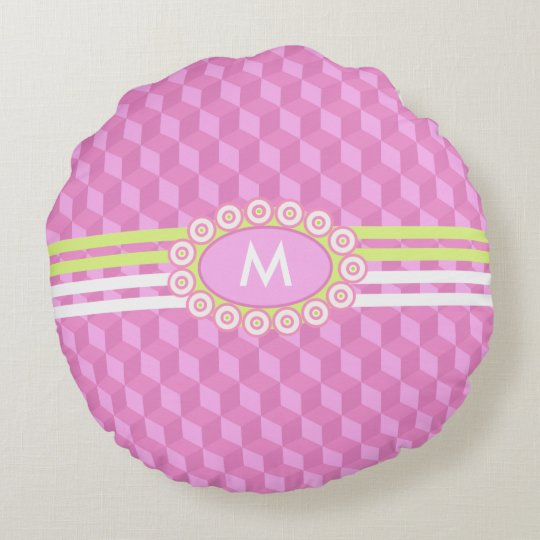 Four Stripes Monogram Pink and Lime ID207 Round Pillow