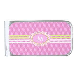 Four Stripes Monogram Pink and Lime ID207 Silver Finish Money Clip