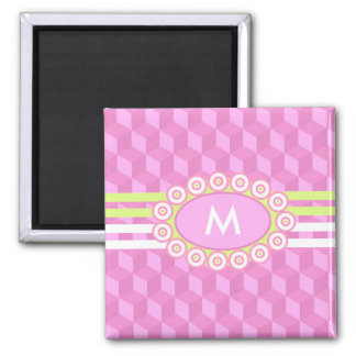 Four Stripes Monogram Pink and Lime ID207 Square Magnet