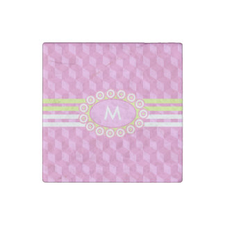 Four Stripes Monogram Pink and Lime ID207 Stone Magnets