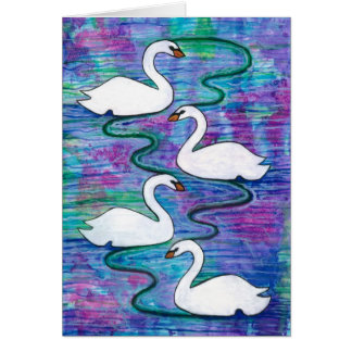 Four Swans-a-Swimming Card