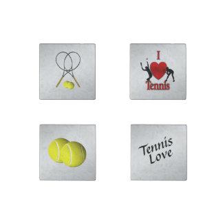 Four Tennis Sport Theme Stone Magnets