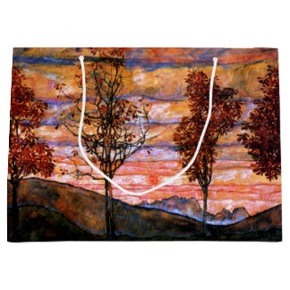 Four Trees by Egon Schiele Fine Art Large Gift Bag