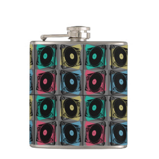 Four Turntables Graphic Hip Flask