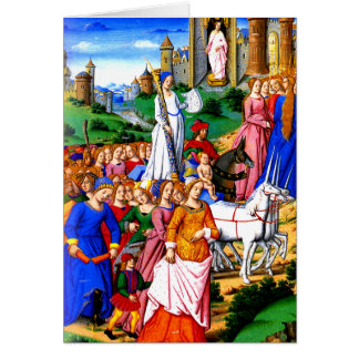 """Four Unicorns lead the Procession"" Card"