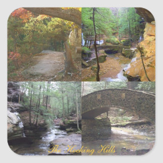 Four views of The Hocking Hills, streams, trees, b Square Sticker