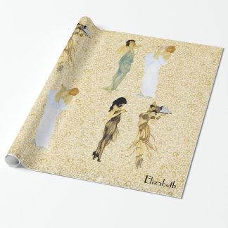 Four Vintage Retro Ladies Art Nouveau Floral Style Wrapping Paper