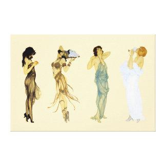 Four Vintage Retro Ladies Art Nouveau Style Canvas Print
