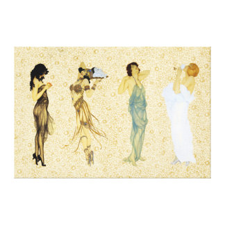 Four Vintage Retro Ladies Floral Art Nouveau Style Canvas Print