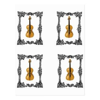 four violin in rows postcard