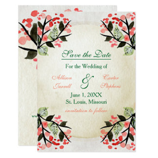 Four Watercolor Bouquets - 3x5 Save the Date Card