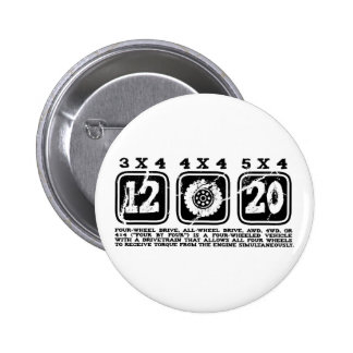 Four Wheel Drive or All Wheel Drive or AWD or 4WD 2 Inch Round Button
