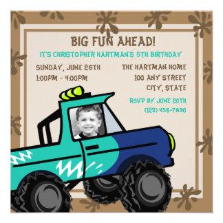 Four Wheel Fun Birthday Invite