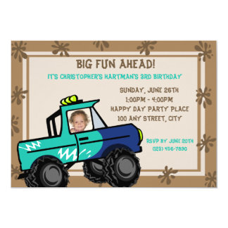 "Four Wheel Fun Truck Birthday 5"" X 7"" Invitation Card"