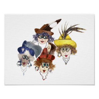 Four Whimsical Women Poster