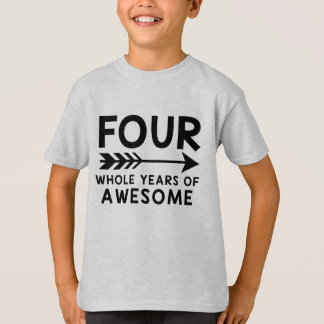 Four Whole Years Of Awesome 4th Birthday Shirt