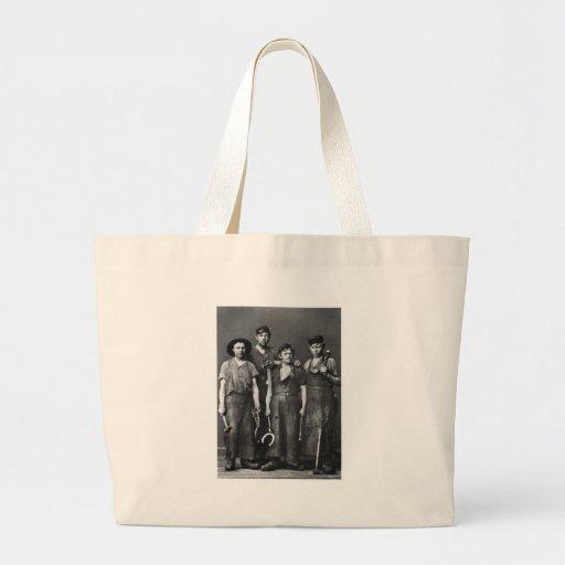Four Young Blacksmiths - Vintage 1881 Photo Bag