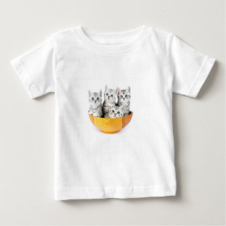 Four young cats sitting in wooden bowl on white baby T-Shirt