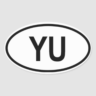 "FOUR Yugoslavia ""YU"" Oval Sticker"