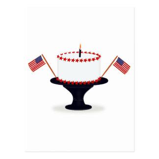 Fourth / 4th of July Birthday Cake Postcard