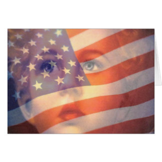 Fourth 4th of July Greeting Card Flag and Child