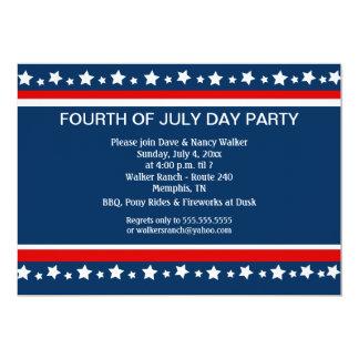 FOURTH 4th of July Party Custom 5x7 invitation