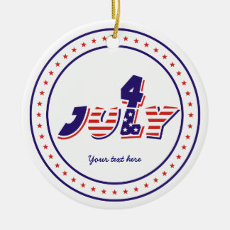 Fourth 4th of July red blue text design ornament