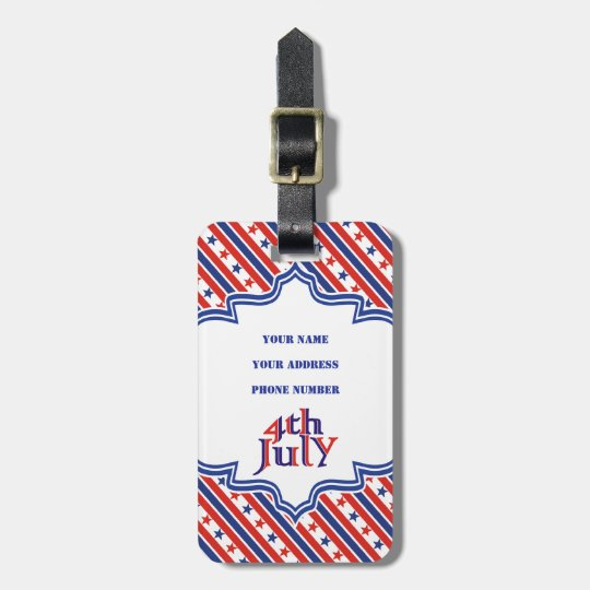 Fourth 4th Of July text design & border with stars Luggage Tag
