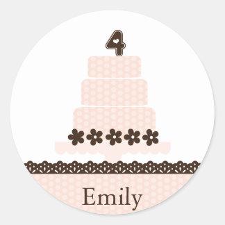 Fourth Birthday Cupcake Topper/Sticker Round Sticker