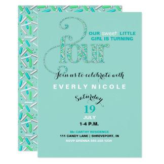 Fourth Birthday Mint & Aqua Sprinkles 4 Year Old Card