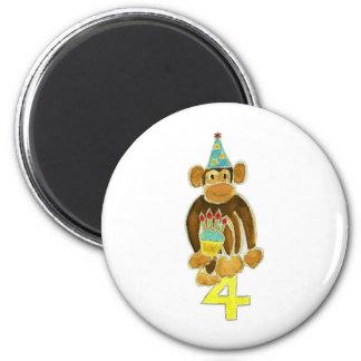 Fourth Birthday Monkey 2 Inch Round Magnet
